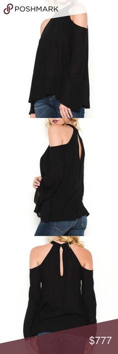 "🛍JUST IN🛍 Black Cold Shoulder Bell Sleeve Top This top is perfect to pair with your favorite jeans and ankle booties!  • 100% RAYON • BELL SLEEVES  • FITS TRUE TO SIZE • MODELING A SIZE SMALL • SEMI SHEER, I RECOMMEND WEARING A TANK TOP OR BANDEAU UNDERNEATH  Approximate Measurements:  •Small:   Armpit to Armpit: 17""  Length front & back: 26"" & 27""  •Medium:  Armpit to Armpit: 18""  Length front & back: 26.6"" & 27.5""  •Large:  Armpit to Armpit: 19""  Length front & back: 27"" & 28""…"