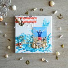 DIY canvas for your seaside holiday memories (hungarian) Scrapbook Albums, Scrapbook Cards, Seaside Holidays, Scrapbook Embellishments, Diy Canvas, Cardmaking, Flora, Mixed Media, Paper Crafts