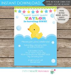 Baby Duck / Rubber Duck Birthday Party Invitation - Rubber Duck Invitation - 1st Birthday - Download & Personalize at home in Adobe Reader
