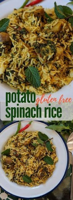 Spinach Potato Rice Easy Dinner Recipe ready in under 30 minutes Potato recipes Indian rice recipes Vegetarian biryani recipes Vegetarian Biryani, Vegetarian Rice Recipes, Veg Recipes, Easy Dinner Recipes, Indian Food Recipes, Pasta Recipes, Chicken Recipes, Cooking Recipes, Healthy Recipes
