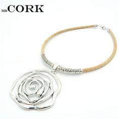 Натуральная пробка Большой розы ожерелье щепка цветок кулон женщины ручной работы натуральный оригинальные украшения N 87 купить на AliExpress