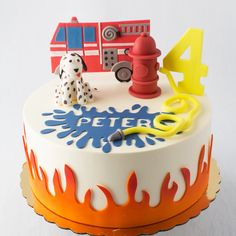request a custom quote Please Note: This cake requires 10 days advance notice. If your order date is within 10 days, please call us at and we will see what we can do for you! Firefighter Birthday Cakes, Twin Birthday Cakes, Truck Birthday Cakes, Custom Birthday Cakes, Custom Cakes, 3rd Birthday, Fireman Sam Cake, Fireman Party, Fire Engine Cake