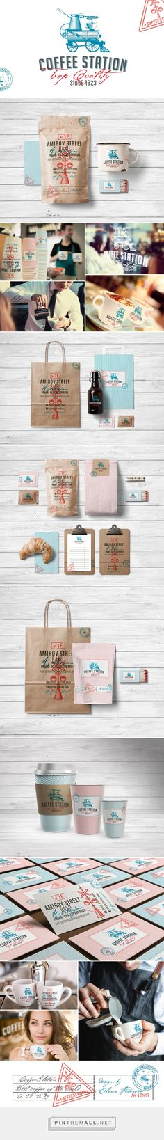 Branding packaging for the coffee shop Coffee Station on Behance by Olena Federova curated by Packaging Diva PD. Makes you want to get together for a cuppa.- 小清新