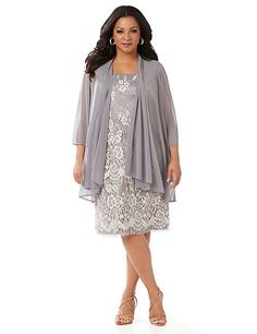 We love the feminine glamour of this jacket dress. The classic shift design features tiers of delicately detailed floral lace and silky, comfortable straps.. The coordinating sheer jacket has a draping openfront. Scoop neckline. Zipper back on dress. Fully lined. Removable jacket features three-quarter sleeves. Catherines dresses are expertly designed for the plus size woman.   Please keep the garment tag attached when returning or exchanging.  FREE RETURN  You can ship this style back to…