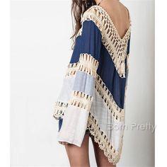 $15.99 1Pc Bohemia Beach Hollow Hook Flower Blouse Long Sleeve Loose Knitwear Fashion Women Clothes - BornPrettyStore.com