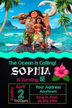 Moana Invitation Birthday Party Invite Printable Digital File Or 12 Printed With Envelopes