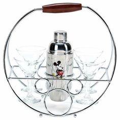 I don't drink, but I'm sure I need this, right?? Mickey mouse glasses and holder, Disney Kitchen décor and accessories