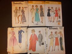 Inventory 77 Vintage Sewing Patterns Lot of 6 by RomanceWriter