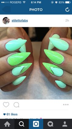 Love this 2 tone green glitter and mint stiletto nail look!!