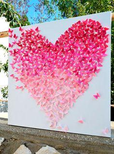 40 Romantic Pink Wedding Ideas for Spring/Summer Wedding, 40 Romantic Pink Wedding Ideas for Spring/Summer Wedding Pink Ombre Butterfly Heart Wedding Backdrop / www. Art Mural Papillon, Butterfly Wall Art, Backdrop Butterfly, Diy Butterfly, Butterfly Wedding Theme, Pink Backdrop, Butterfly Project, Butterfly Baby Shower, Nursery Wall Art