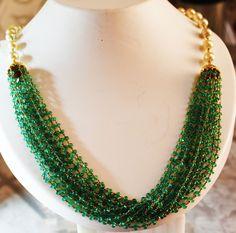 5000$ Fine Natural Emeralds & Pearls Necklace Studded in Gold 18K  #RareGemIN