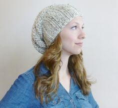 Hand Knit Slouch Beanie Beehive Hat CHOOSE COLOR by BoPeepsBonnets, $32.00