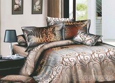 アクチブなブラウンアラベスク4ピースプリントコットン寝具セット