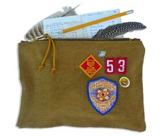 Birdwatcher's supplies inside the CUB SCOUT 53 POUCH, handmade by Den & Delve with vintage materials.