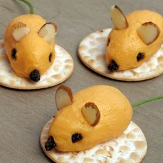 Mini Cheese Ball Mice  I will have to sub something for the ears because of nut allergies, but still cute.