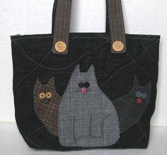 Shoulder denim bag Three cats  3 cats  applique quilted by Gofen, $76.00