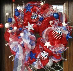 Deco Mesh PATRIOTIC WREATH by decoglitz on Etsy, $125.00
