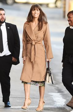 Jessica Biel wearing Max Mara Manuela camel coat while arriving in Los Angeles on January 11th, 2017.