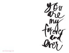 Perfect valentine printable - handwritten brush script. Black and white.