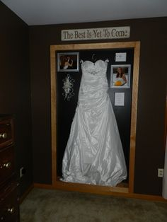 My Wedding Dress shadow Box. This is my Anniversary gift from my husband. Could not think of a better way to keep enjoying our Amazing wedding day