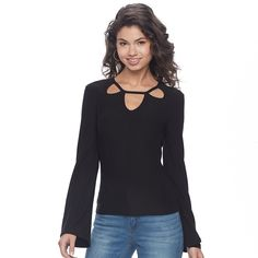 Juniors' Mudd® Cutout Bell Sleeve Top, Teens, Size: Medium, Black