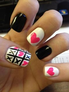 #Nails: Black, White, Pink, #Hearts