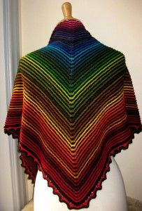 Stunning hand knit shawl pattern using 56 different colors of Wollmeise sock yarn! -- free pattern on Ravelery