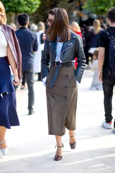 The Paris Way: Fashion Week Street Style - HarpersBAZAAR.com,Really ,Just The Cropped ,Leather Jacket....