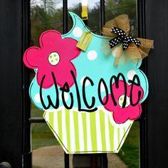 Summer Door Hanger Cupcake Summer Door by LooLeighsCharm on Etsy, $45.00