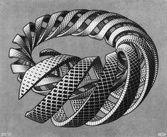 Spirals, 1953 by M.C. Escher. Op Art. tessellation