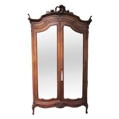Image of Mirrored Carved Wood Armoire