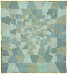 """Sarah Nishiura: Large Untitled #18, 2015, 57"""" x 64"""", 100% cotton, machine pieced, hand quilted"""