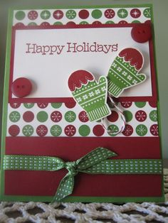 "Stampin' Up Handmade Greeting Card-Christmas/Holiday ""Make A Mitten"". $3.25, via Etsy."