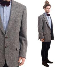 HARRIS TWEED BLAZER 44L .  Mens Vintage Hand Woven Wool 1970s Sport Coat British English Gray 70s Jacket Preppy Outerwear . sz Large