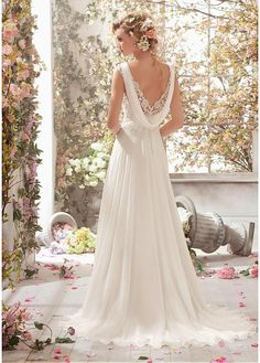 Slim A-line romantic chiffon wedding dress. Chiffon dress is lightweight and elegant, with intricate beaded lace top with V-neck and cowl chiffon streamer on open v back which is cut from sheer lace with button detailing. Flowing ivory chiffon skirt eases out from empire waist with sweep train elongate silhouette.