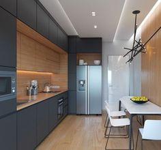 Cocina en negro y madera que aprovecha al máximo el espacio de almacenamiento.