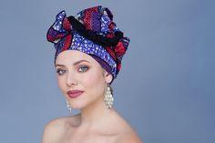 335-05 African Wax Print Turban Dreads Wrap, Purple Red Black Head Wrap, Alopecia Scarf, Chemo Hat, Boho Gypsy Tribal, One Piece Wrap - pinned by pin4etsy.com