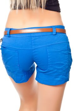 Pump Hotpants mit Aufschläge inkl. Gürtel