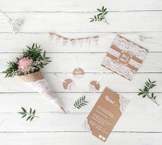 miss red fox: 5 Ideen mit Kraftpapier und Spitzefür eine romantische / vintage Hochzeit - 5 DIY ideas with craft paper and lace for a vintage / romantic wedding