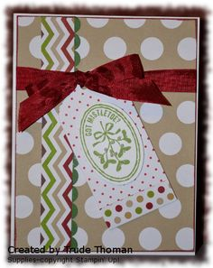 Stampin' Up! Christmas card; Season of Style designer series paper, Very Merry Tags, Pretty Presents Designer Tags, Cherry Cobbler seam binding. Products available at http://trudethoman.stampinup.net