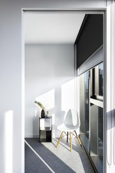 Dual Roller Blinds In Kew - Orca Blockout Fabric (Window Side) and One Screen Charcoal - Sunscreen Light Filtering Fabric (Room Side) Bedroom Curtains With Blinds, Patio Blinds, Living Room Blinds, Outdoor Blinds, Diy Blinds, House Blinds, Bamboo Blinds, Fabric Blinds, Wood Blinds
