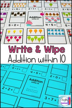 Looking for fun kindergarten and first grade math centers? Check out these addition to 10 write and wipe printables! Just print and laminate these write and wipe addition cards and you can use them to practice addition fact fluency throughout the year. Math Stations, Math Centers, Math Worksheets, Teacher Resources, Common Core Curriculum, Kindergarten Math Activities, Writing Numbers, First Grade Math, Addition And Subtraction