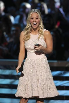 Love the dress!!  Kaley Cuoco hosts the 39th annual People's Choice Awards. Photo Credit: Monty Brinton/CBS.
