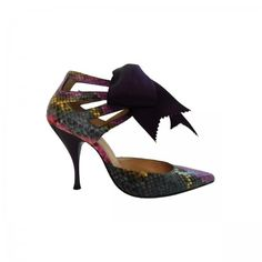 Lacrom - Maria Biandr - Lelahel Decolletes pumps. Hand-painted phyton.  Drilling manifacture on the heel.  Satin bow and purple sprinkled heel.
