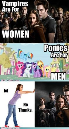 I'm a proud Pegasister, and will happily trash Twilight until the end of my days.