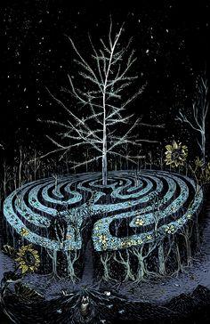 Labyrinth, by Jess Chen Labyrinth Garden, Labyrinth Maze, Wicca, Labrynth, Ancient Symbols, Art Moderne, Visionary Art, Land Art, Magazine Art