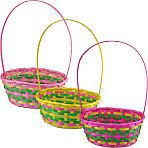 Pastel Woven Bamboo Easter Baskets, Dollar Tree
