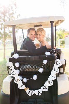 Alta Vista County Club / Photo by Jen Disney  Floral by Victoria's Garden Anaheim / Bride Portrait / Pink Peonies / Bright Bouquet / Blush Wedding / Bride and Groom / Romantics / Golf Cart Bride and Groom