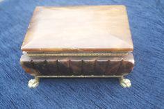 Vintage Brown Onyx Cigarette Box Art Deco With Cast Metal Feet by Triggerstreasure on Etsy Plastic Storage, Jar Storage, Vintage Bar, Vintage Silver, Cigarette Box, Tea Caddy, North Yorkshire, Metal Casting, Box Art