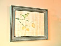 Hand Painted Magnetic Board- a generic picture frame I backed with galvanized steel then covered with papyrus.